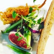 Goats Cheese Mouse with micro basil leaves, rosti potato, asparagus tips and truffle oil crouton