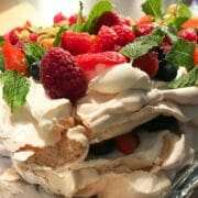 Meringue & Mixed Berries stack with fresh mint and mascarpone